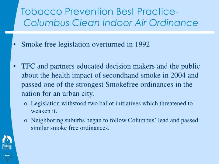 Tobacco Prevention Best Practice-