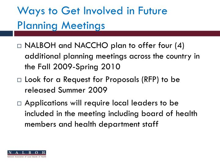 Ways to Get Involved in Future Planning Meetings