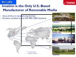 imation is the only u s based manufacturer of removable media