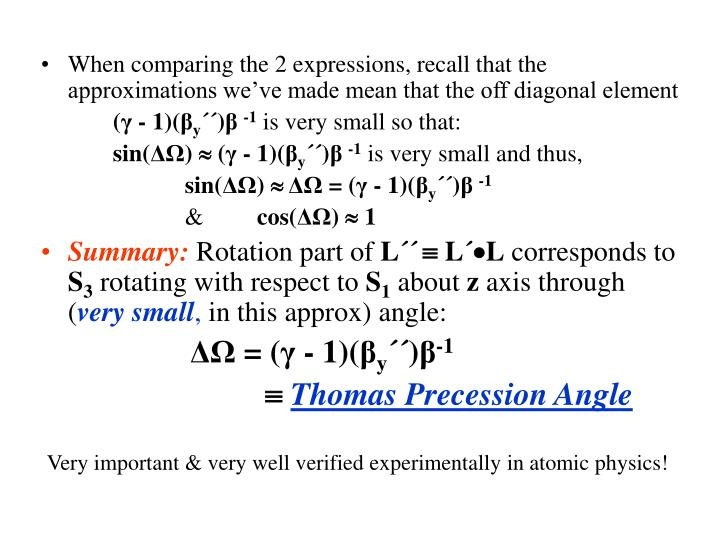 When comparing the 2 expressions, recall that the approximations we've made mean that the off diagonal element