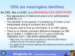oids are meaningless identifiers