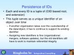 persistence of ids