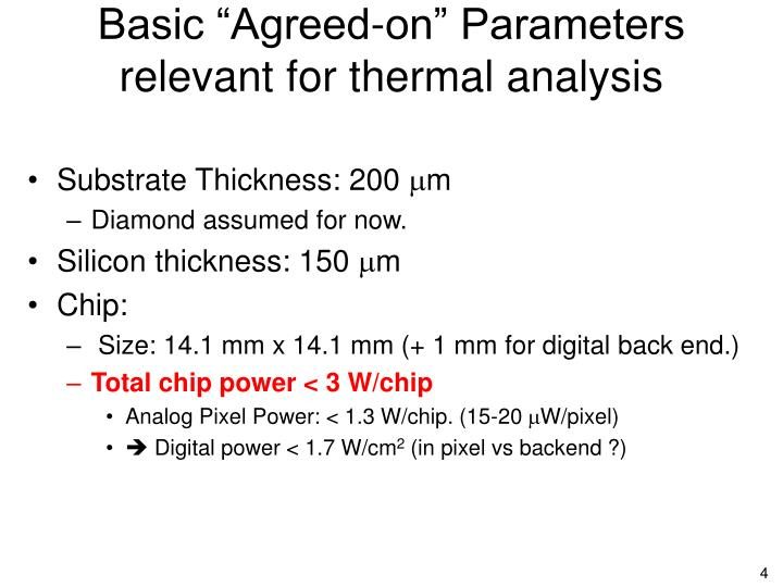 """Basic """"Agreed-on"""" Parameters"""