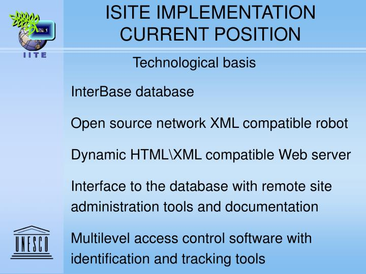 ISITE IMPLEMENTATION