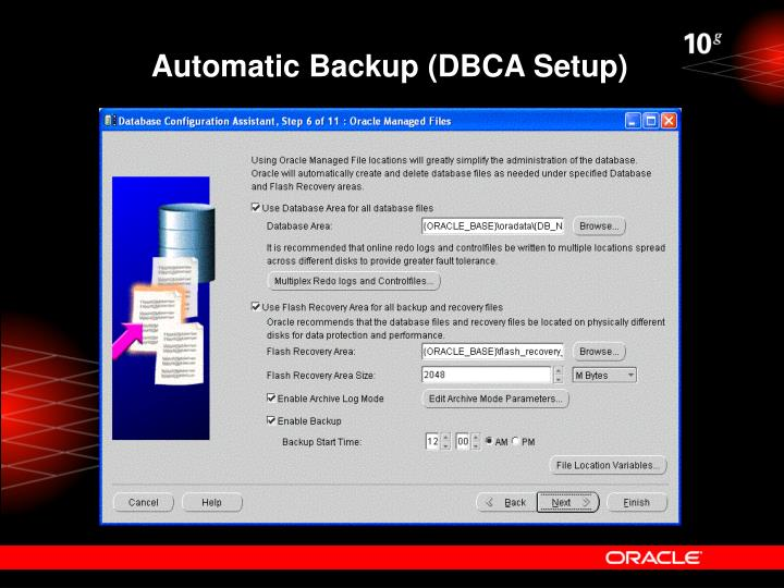 Automatic Backup (DBCA Setup)