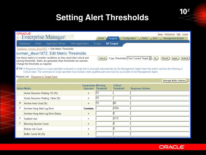 Setting Alert Thresholds