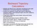 backward trajectory calculations