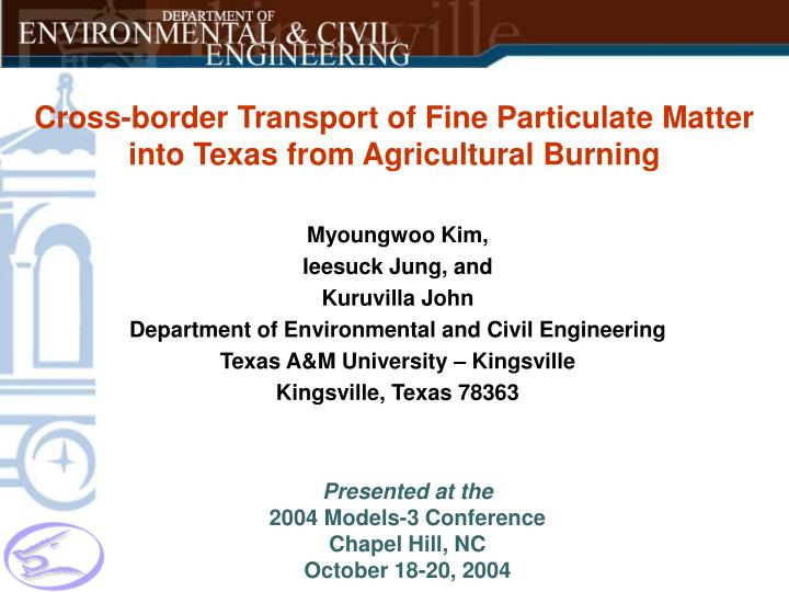 cross border transport of fine particulate matter into texas from agricultural burning n.