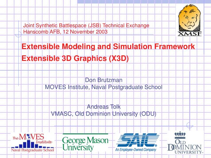 extensible modeling and simulation framework extensible 3d graphics x3d n.