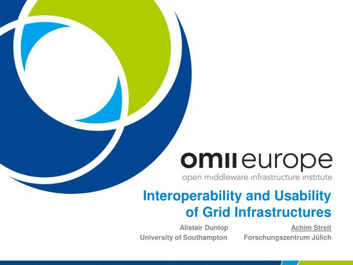Interoperability and usability of grid infrastructures