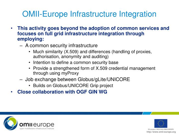 OMII-Europe Infrastructure Integration