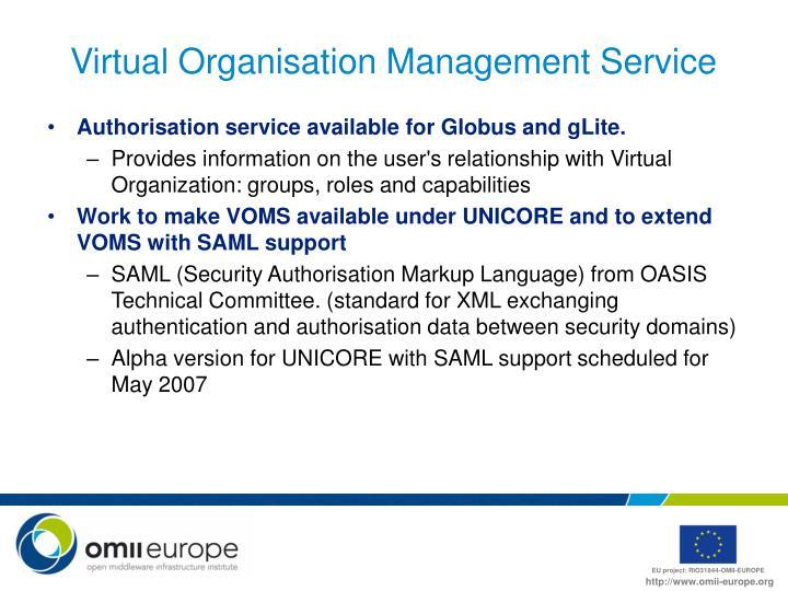 Virtual Organisation Management Service