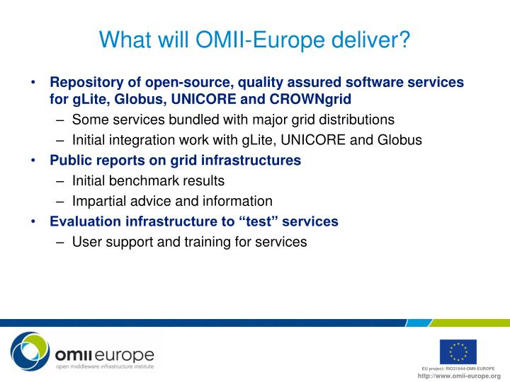 What will OMII-Europe deliver?