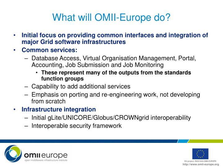 What will OMII-Europe do?