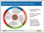 operational excellence launched in 2013