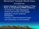 movement towards world class excellence
