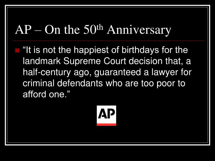 Ap on the 50 th anniversary