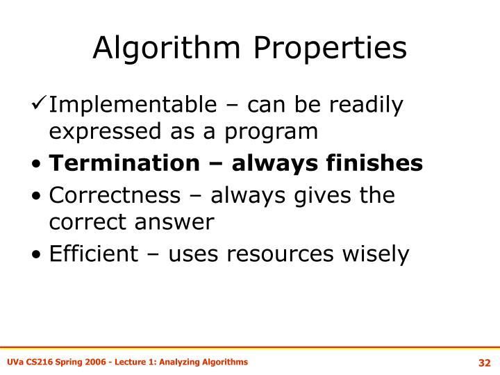 Algorithm Properties
