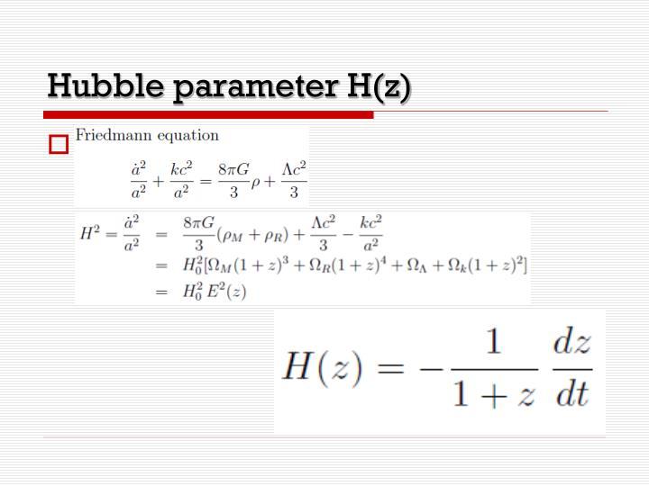 Hubble parameter H(z)