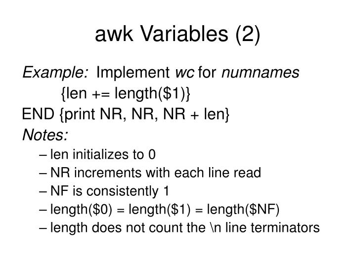 awk Variables (2)
