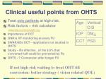 clinical useful points from ohts2