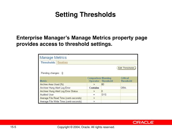 Setting Thresholds
