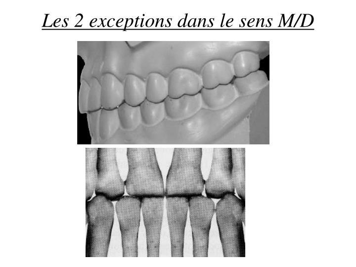 Les 2 exceptions dans le sens M/D
