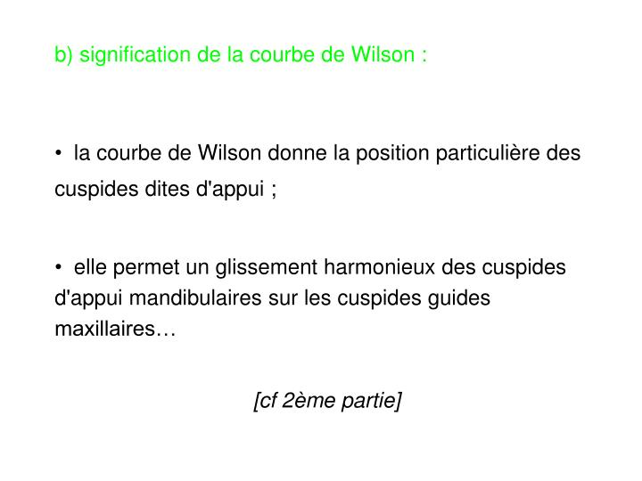 b) signification de la courbe de Wilson :