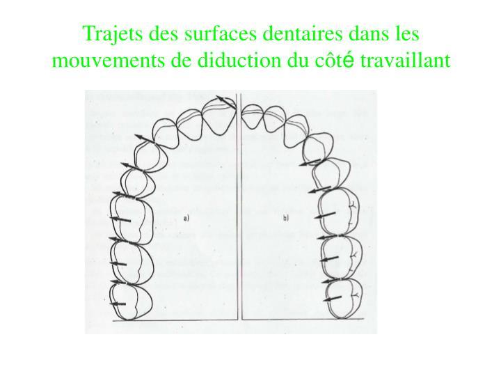 Trajets des surfaces dentaires dans les mouvements de diduction du côt
