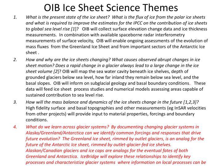 Oib ice sheet science themes