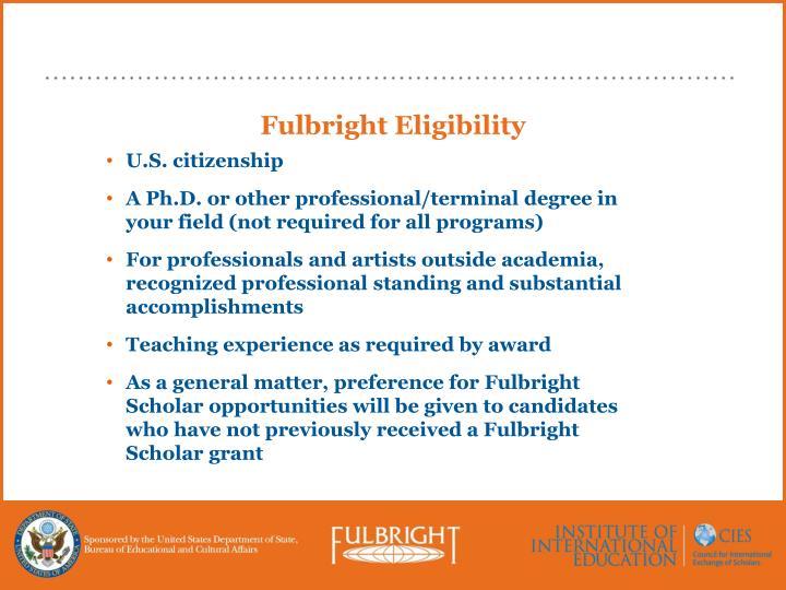 Fulbright Eligibility