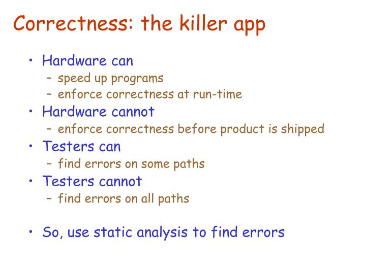 Correctness: the killer app