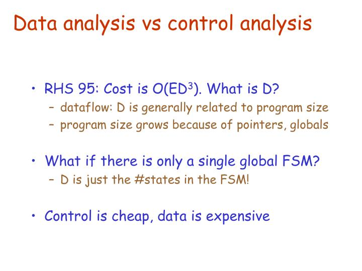 Data analysis vs control analysis
