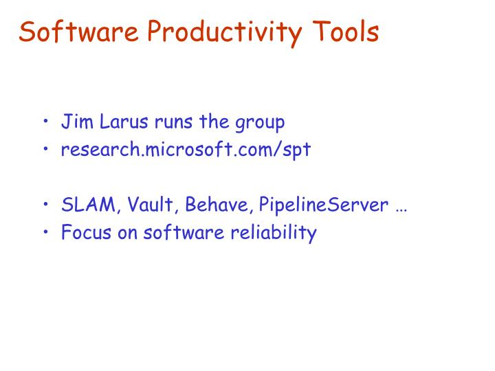Software productivity tools