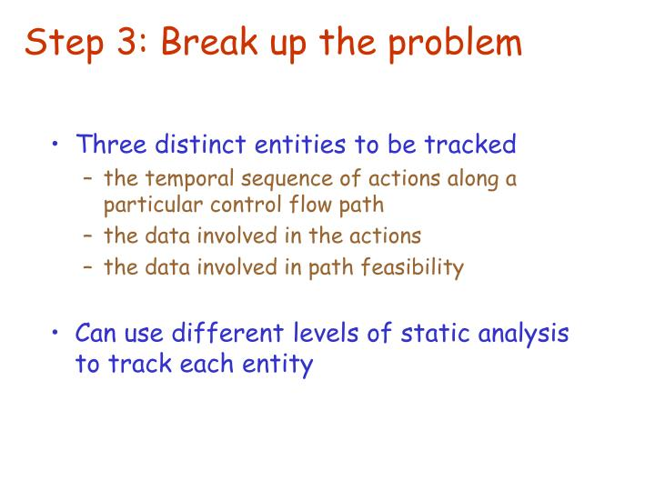 Step 3: Break up the problem