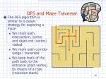 dfs and maze traversal