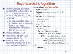 floyd warshall s algorithm