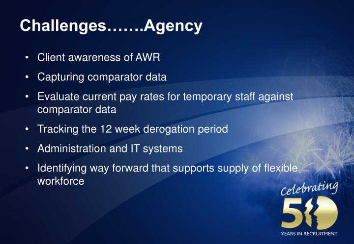 Challenges…….Agency