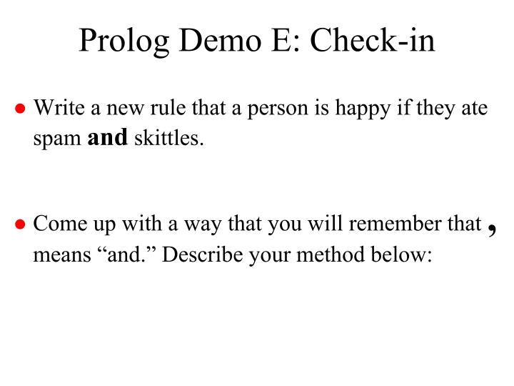 Prolog Demo E: Check-in