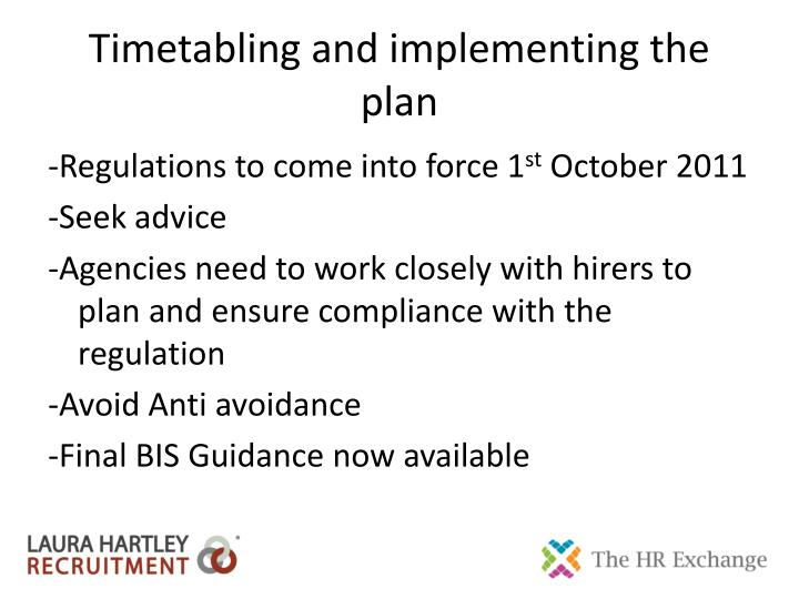 Timetabling and implementing the plan