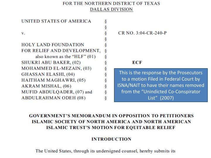 """This is the response by the Prosecutors to a motion Filed in Federal Court by ISNA/NAIT to have their names removed from the """"Unindicted Co-Conspirator List""""  (2007)"""