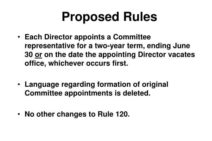 Proposed rules