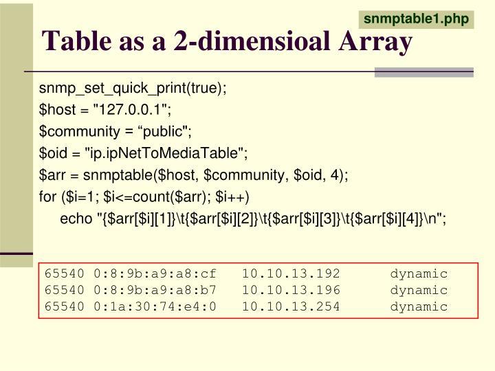 Table as a 2-dimensioal Array