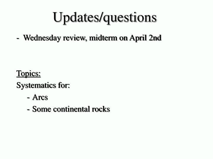 Updates/questions
