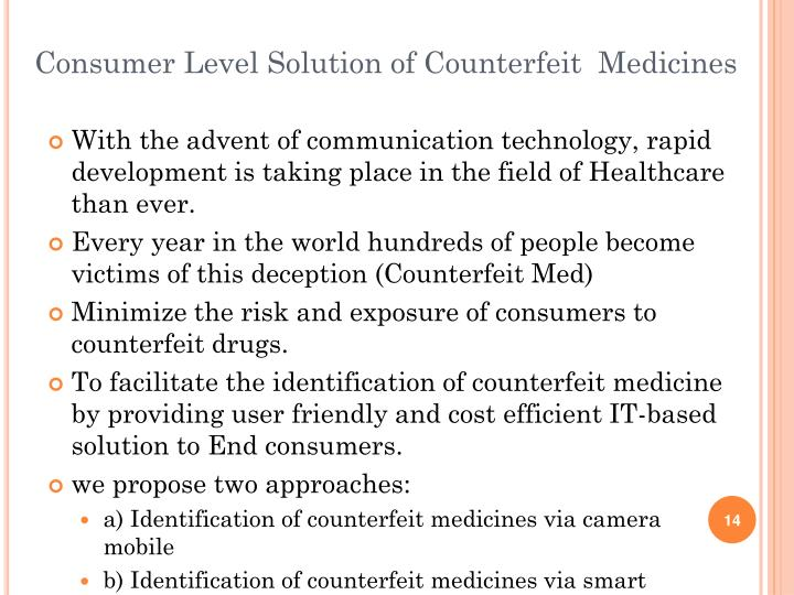 Consumer Level Solution of Counterfeit  Medicines