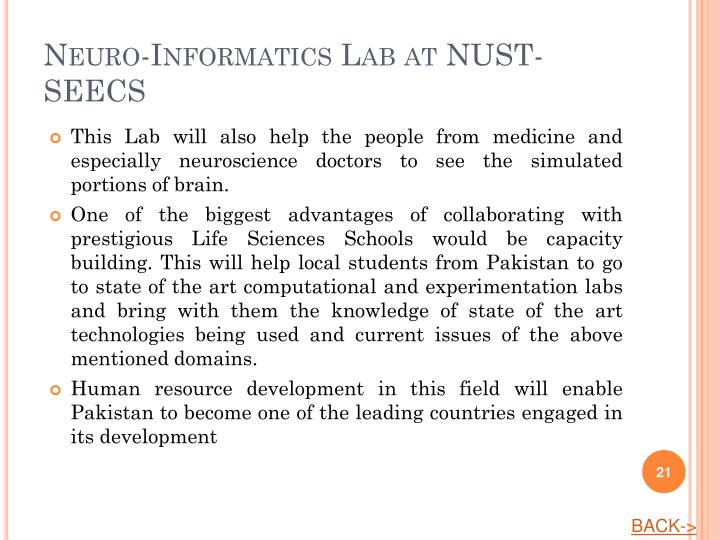 Neuro-Informatics Lab at NUST-SEECS