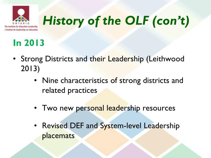 History of the OLF (con't)