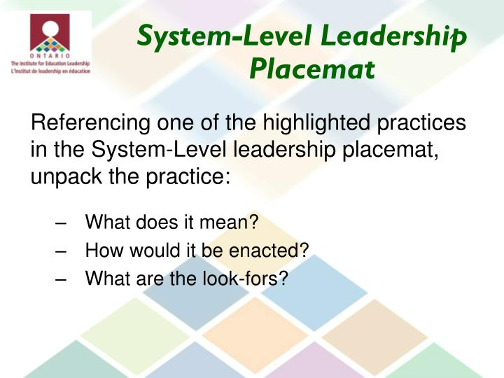 System-Level Leadership Placemat