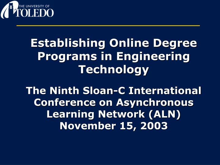 Establishing Online Degree Programs in Engineering Technology