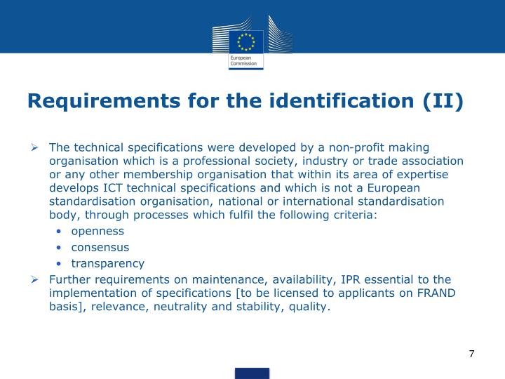 Requirements for the identification (II)
